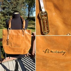 B. Makowsky Leather Large Shoulder Tote Bag Purse